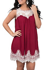 Umgee Women's Ivory & Burgundy Lace Dress