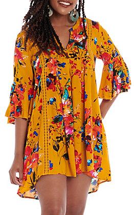 UMGEE Women's Mustard Multi Floral Bell Sleeve Dress