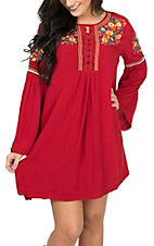 Umgee Women's Red  w/ Floral Embroidery Peasant Dress