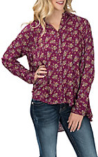 Umgee Women's Berry Floral Print Hi-Low Fashion Shirt