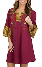 Umgee Women's Wine Floral Embroidered Peasant Dress
