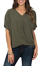 Umgee Women's Olive Knot Front Short Sleeve Fashion Top