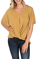 Umgee Women's Mustard Knot Front Short Sleeve Fashion Top