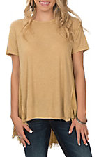 Umgee Women's Gold Ribbed With Frayed & Exposed Stitching Baby Doll Casual Knit Shirt