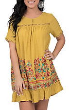 Umgee Women's Golden Embroidered Dress