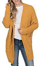 Umgee Women's Mustard Fuzzy Knit Long Dolman Sleeve Cardigan