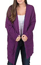 Umgee Women's Purple Fuzzy Knit Long Dolman Sleeve Cardigan