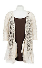 Lore Mae Girl's Cream Lace Long Sleeve Cardigan