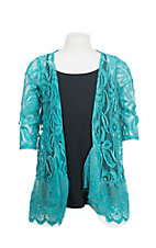 Lore Mae Girl's Turquoise Lace Long Sleeve Cardigan