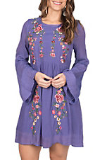Umgee Women's Purple Bell Sleeve Floral Embroidered Dress
