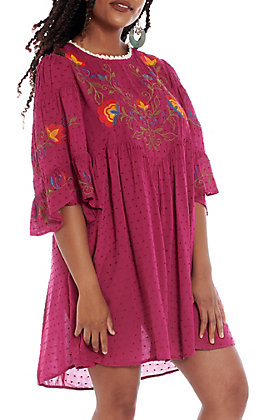 UMGEE Women's Cranberry Polka Dot Floral Embroidered Bell Sleeve Dress