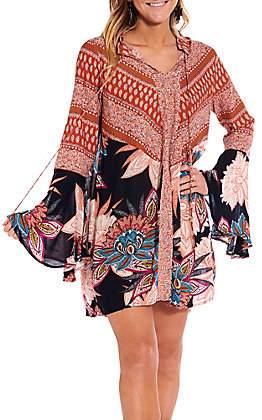 UMGEE Women's Orange And Navy Floral Paisley Bell Sleeve Dress