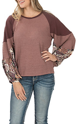 UMGEE Women's Wine Waffle Knit with Floral Print Puff Sleeves Casual Knit Top