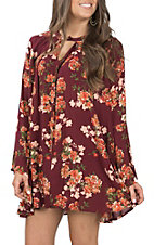 Umgee Women's Wine Floral Neck Dress