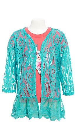 Lore Mae Girls' Turquoise Lace Cardigan