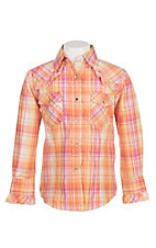 Cowgirl Hardware Girl's Orange Plaid with Ruffled Details Long Sleeve Western Snap Shirt