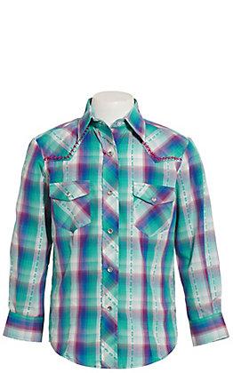 Rodeo Girl Girls' Teal Multi-Plaid Long Sleeve Western Shirt