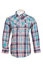 Wired Heart Girl's Multi Colored Plaid with Silver Lurex and Embroidery Long Sleeve Western Snap Shirt