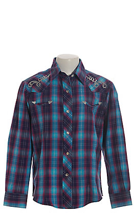 Rodeo Girl Girls' Purple, Turquoise and Pink Plaid with Silver Embroidery Long Sleeve Western Shirt