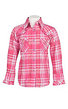 Cowgirl Hardware Girl's Pink Plaid with Ruffled Details Long Sleeve Western Snap Shirt