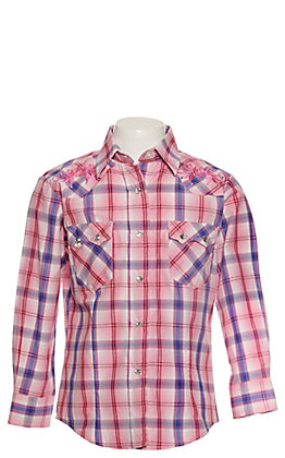 Rodeo Girls Girls' Pink, Red & Blue Plaid with Embroidery Long Sleeve Western Shirt