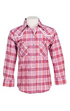 Cowgirl Hardware Girl's Pink Plaid with Crocket Details and Silver Lurex Long Sleeve Western Snap Shirt