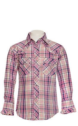 Rodeo Girl Pink, Navy and Yellow Plaid with Ruffle Long Sleeve Western Shirt