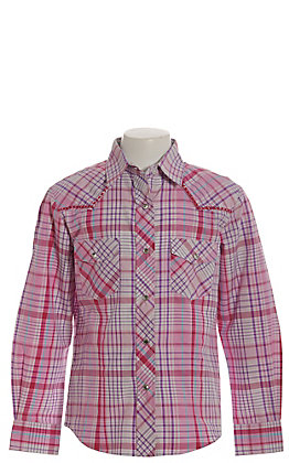 Rodeo Girl Girls' Pink, Purple and Turquoise Plaid Long Sleeve Western Shirt