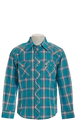 Rodeo Girl Girls' Turquoise and White Plaid with Silver Embroidery Long Sleeve Western Shirt