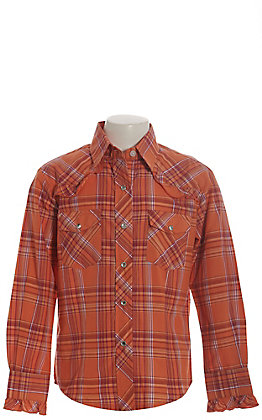 Rodeo Girl Girls' Orange and Pink Plaid with Ruffle Long Sleeve Western Shirt