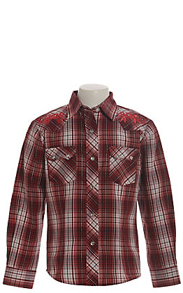 Rodeo Girl Girls' Maroon, Red and White Plaid with Roses Long Sleeve Western Shirt