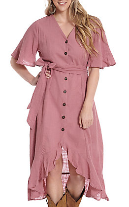 Umgee Women's High-Low Dusty Rose Button Down Dress