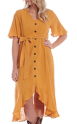 Umgee Women's High-Low Mustard Button Down Dress