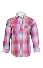 Cowgirl Legend Girls Pink Plaid Rhinestones Long Sleeve Western Snap Shirt