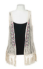 Lore Mae Girl's Cream Lace with Embroidered Details Sleeveless Vest