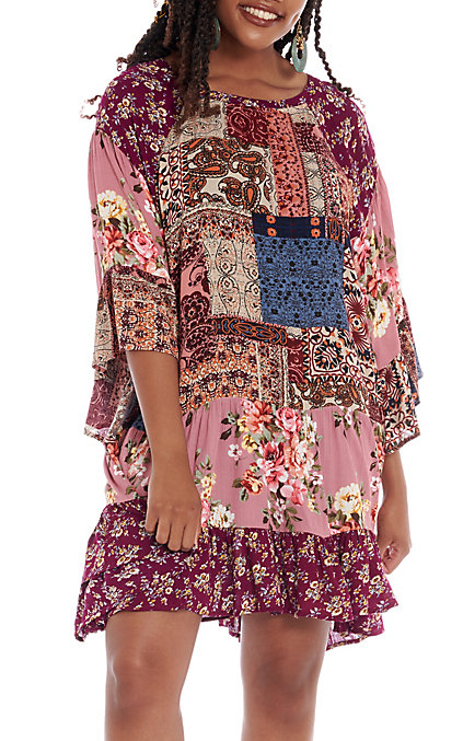 2c48b9320ef UMGEE Women's Berry Multi Floral Paisley Bell Sleeve Dress