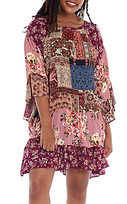 UMGEE Women's Berry Multi Floral Paisley Bell Sleeve Dress