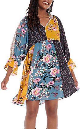 UMGEE Women's Seafoam Multi Floral Patch Bell Sleeve Dress