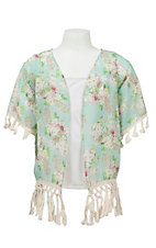 09 Apparel Girl's Mint Floral Print Chiffon with Tassel Trim Short Sleeve Cardy