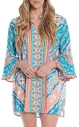 UMGEE Women's Aqua Multi Print Bell Sleeve Dress