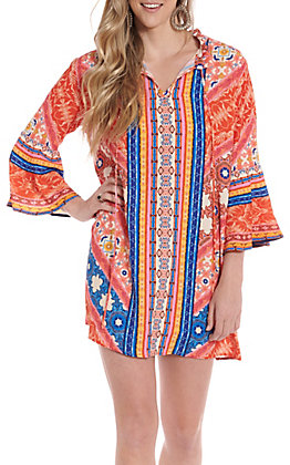 UMGEE Women's Orange Multi Print Bell Sleeve Dress