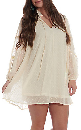 UMGEE Women's Cream Sheer Polka Dot Long Sleeve Dress