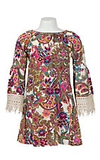 Lore Mae Girl's Pink and Turquoise Paisley Print Long Sleeve Dress
