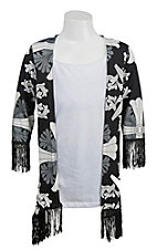 09 Apparel Girl's Black with Grey & White Print Fringe Trim 3/4 Sleeve Cardy