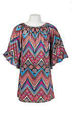 Lore Mae Girl's Pink and Turquoise Chevron Print Long Sleeve Dress