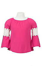 09 Apparel Girl's Hot Pink with White Crochet Inset Long Sleeve Knit Shirt