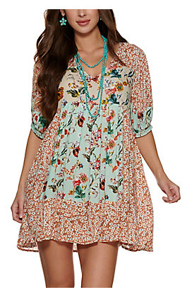 Umgee Women's Mint, Rust and Cream Floral Print V-Neck Babydoll Dress