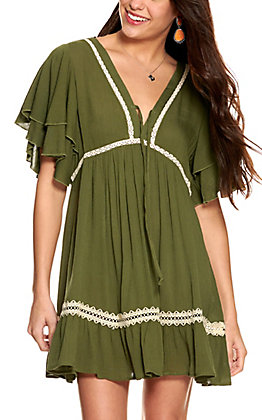 Umgee Women's Olive with Lace Short Sleeve Dress