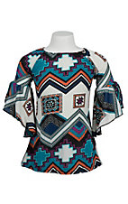 Love Mae Girl's Teal Multicolor Tribal Bell Sleeve Dress