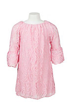 Lore Mae Girl's Pink Lace Long Sleeve Dress